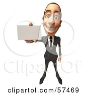 Royalty Free RF Clipart Illustration Of A 3d White Corporate Businessman Character Holding A Blank Business Card Version 2
