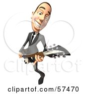 3d White Corporate Businessman Character Playing An Electric Guitar - Version 3
