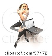 Royalty Free RF Clipart Illustration Of A 3d White Corporate Businessman Character Holding A Laptop Version 4