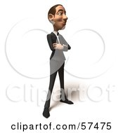 Royalty Free RF Clipart Illustration Of A 3d White Corporate Businessman Character Standing And Facing Right
