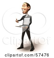 Royalty Free RF Clipart Illustration Of A 3d White Corporate Businessman Character Holding A Laptop Version 2