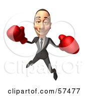 Royalty Free RF Clipart Illustration Of A 3d White Corporate Businessman Character Boxing Version 2 by Julos