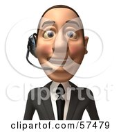 Royalty Free RF Clipart Illustration Of A 3d White Corporate Businessman Character Wearing A Headset Version 1