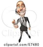 Royalty Free RF Clipart Illustration Of A 3d White Corporate Businessman Character Wearing A Headset And Pointing His Fingers Like A Gun Version 1