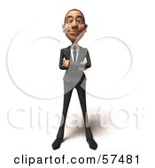 Royalty Free RF Clipart Illustration Of A 3d White Corporate Businessman Character Standing And Facing Front Version 2 by Julos