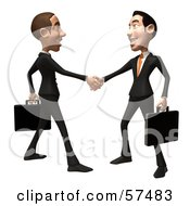 Royalty Free RF Clipart Illustration Of A 3d White Corporate Businessman Character Shaking Hands With A Colleague Version 1 by Julos