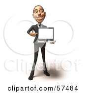 Royalty Free RF Clipart Illustration Of A 3d White Corporate Businessman Character Holding A Laptop Version 1