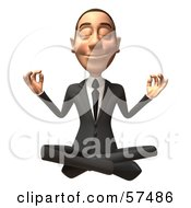 Royalty Free RF Clipart Illustration Of A 3d White Corporate Businessman Character Meditating Version 1 by Julos