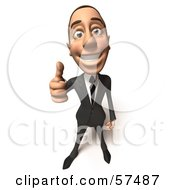 Royalty Free RF Clipart Illustration Of A 3d White Corporate Businessman Character Giving The Thumbs Up