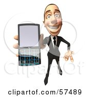 Royalty Free RF Clipart Illustration Of A 3d White Corporate Businessman Character Holding A Cell Phone Version 4 by Julos
