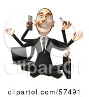 Royalty Free RF Clipart Illustration Of A 3d White Corporate Businessman Character Multi Tasking Version 2 by Julos