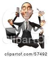 Royalty Free RF Clipart Illustration Of A 3d White Corporate Businessman Character Multi Tasking Version 1