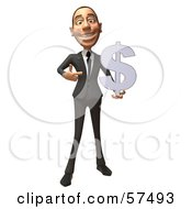 Royalty Free RF Clipart Illustration Of A 3d White Corporate Businessman Character Holding A Dollar Symbol Version 3 by Julos
