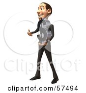 Royalty Free RF Clipart Illustration Of A 3d White Corporate Businessman Character Holding A Dollar Symbol Version 2
