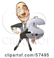 Royalty Free RF Clipart Illustration Of A 3d White Corporate Businessman Character Holding A Dollar Symbol Version 1 by Julos
