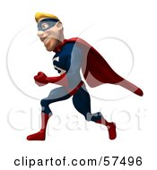 Royalty Free RF Clipart Illustration Of A 3d Male Super Guy Character Running