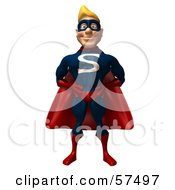 Royalty Free RF Clipart Illustration Of A 3d Male Super Guy Character Standing And Facing Front by Julos