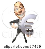 Royalty Free RF Clipart Illustration Of A 3d White Corporate Businessman Character Holding A Euro Symbol Version 2 by Julos