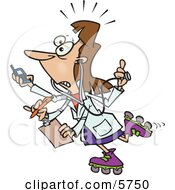 Female Doctor With 4 Arms Multi Tasking Clipart Illustration by toonaday