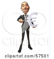 Royalty Free RF Clipart Illustration Of A 3d White Corporate Businessman Character Holding A Euro Symbol Version 4