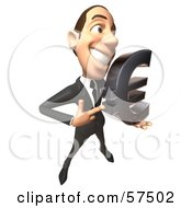 Royalty Free RF Clipart Illustration Of A 3d White Corporate Businessman Character Holding A Euro Symbol Version 1