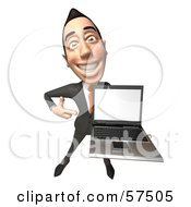 Royalty Free RF Clipart Illustration Of A 3d Asian Businessman Character Holding A Laptop With A Blank Screen Version 3 by Julos