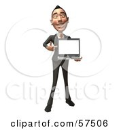 Royalty Free RF Clipart Illustration Of A 3d Asian Businessman Character Holding A Laptop With A Blank Screen Version 1 by Julos