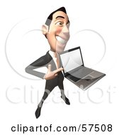 Royalty Free RF Clipart Illustration Of A 3d Asian Businessman Character Holding A Laptop With A Blank Screen Version 4 by Julos