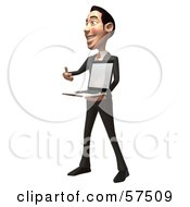 Royalty Free RF Clipart Illustration Of A 3d Asian Businessman Character Holding A Laptop With A Blank Screen Version 2 by Julos