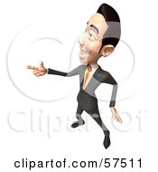 Royalty Free RF Clipart Illustration Of A 3d Asian Businessman Character Pointing His Fingers Like A Gun Version 5 by Julos