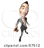 Royalty Free RF Clipart Illustration Of A 3d Asian Businessman Character Pointing His Fingers Like A Gun Version 4 by Julos