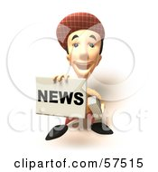 Royalty Free RF Clipart Illustration Of A 3d News Boy Character Holding Up A Newspaper Version 8