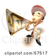Royalty Free RF Clipart Illustration Of A 3d News Boy Character Announcing News Through A Megaphone Version 8