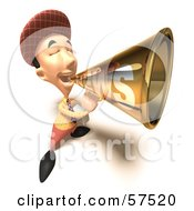 Royalty Free RF Clipart Illustration Of A 3d News Boy Character Announcing News Through A Megaphone Version 7