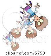 Stressed Or Excited Woman Bouncing Clipart Illustration by Ron Leishman