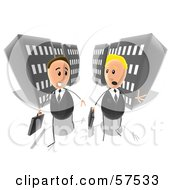 Royalty Free RF Clipart Illustration Of Two Business Men Chatting And Walking On A City Street