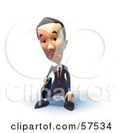 Royalty Free RF Clipart Illustration Of A 3d Short Businessman Character Pouting Version 6