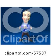 Royalty Free RF Clipart Illustration Of A 3d Short Businessman Character Holding A Globe Version 1