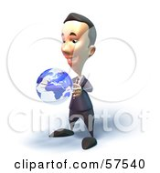 Royalty Free RF Clipart Illustration Of A 3d Short Businessman Character Holding A Globe Version 4