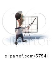 Royalty Free RF Clipart Illustration Of A 3d Short Businessman Character Discussing Statistics Version 6