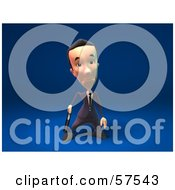 Royalty Free RF Clipart Illustration Of A 3d Short Businessman Character Pouting Version 7