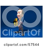 Royalty Free RF Clipart Illustration Of A 3d Short Businessman Character Holding Out A Golden Home Version 2