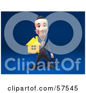 Royalty Free RF Clipart Illustration Of A 3d Short Businessman Character Holding Out A Golden Home Version 1