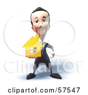 Royalty Free RF Clipart Illustration Of A 3d Short Businessman Character Holding Out A Golden Home Version 6