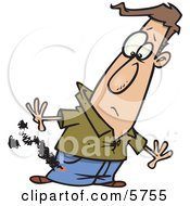 Mans Pants Burning From A Cigarette Clipart Illustration