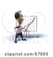 Royalty Free RF Clipart Illustration Of A 3d Short Businessman Character Discussing Statistics Version 4