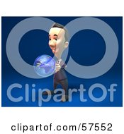 Royalty Free RF Clipart Illustration Of A 3d Short Businessman Character Holding A Globe Version 2