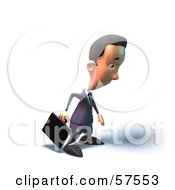 Royalty Free RF Clipart Illustration Of A 3d Short Businessman Character Pouting Version 4