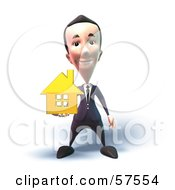 Royalty Free RF Clipart Illustration Of A 3d Short Businessman Character Holding Out A Golden Home Version 4
