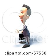 Royalty Free RF Clipart Illustration Of A 3d Short Businessman Character Reaching Out To Shake Hands Version 6